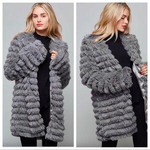 NWOT Grey Faux Fur Fringe Waterfall Jacket